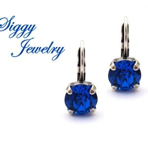 Swarovski® Crystal Earrings, Capri Royal Blue Drop